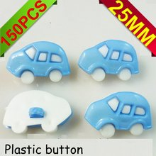 150PCS  plastic blue bus pattern cartoons sewing cloth kids  button clothes accessory P-011