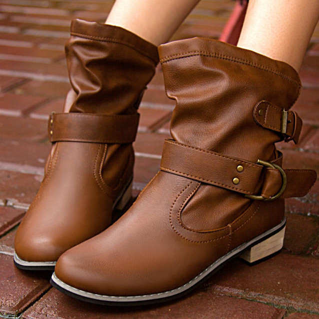 Women Boots Genuine Leather Shoes Brown/Black Flat Ankle Boots Round toe lace up Spring/Autumn Shoes Brand Motorcycle BUCKLE<br><br>Aliexpress