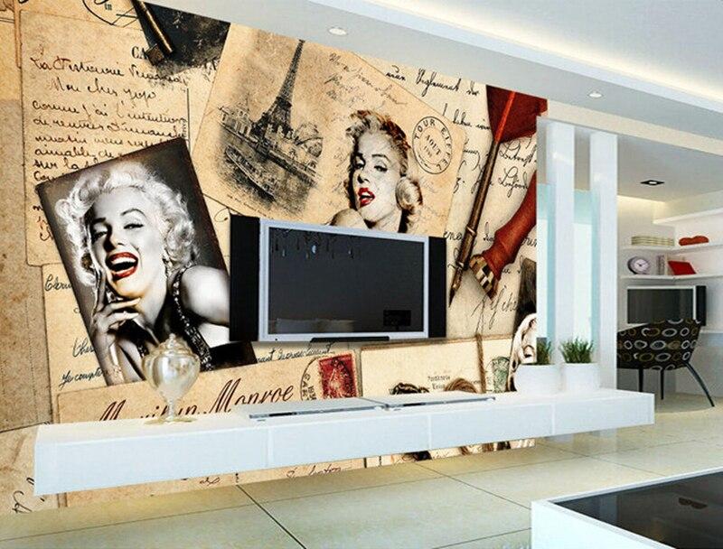 Custom 3D murals,sexy Marilyn Monroe retro nostalgic newspaper papel de parede,coffee shop living room tv wall bedroom wallpaper<br>