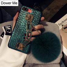 Dower Me Fashion Square Metal Hand Chain With Cute Real Rabbit Fur Ball Green Crocodile PU Case Cover For iPhone X 8 7 6 6S Plus(China)