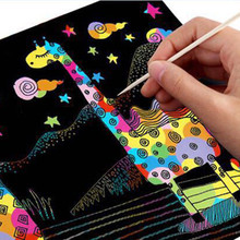 10 Sheets Magic Scratch Art Painting Paper With Drawing Stick Kids Toy Black 26cmX19cm Environmentally-friendly Odorless(China)