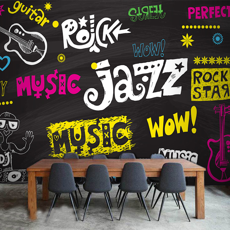 3D photo wallpaper Personality trend blackboard style graffiti music element large mural Bar Cafe wallpaper<br>