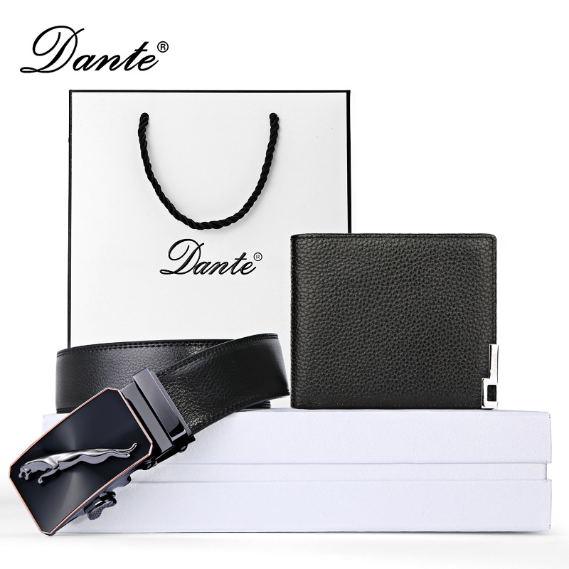 Dante Brand Genuine Cow Leather Wallet + Belt Set Mens Fashion Male Purse And Waistband Best Present For Your Man Gift Package<br>