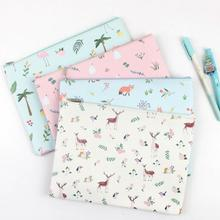 Sweet Forest Element Fox Deer Flamingo Swam A5 A4 Waterproof PU Leather File Folder Document Filing Bag Stationery Bag(China)