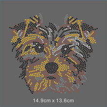 12 Pieces Of Australia Terrier Dog Hot Fix Crystal Transfer for T shirt Strass Design(China)