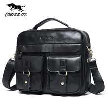 CROSS OX 2017 New Arrival Genuine Leather Bags For Men Wax Leather Shoulder Bag Satchel Briefcase Portfolio Men's Bag HB568M