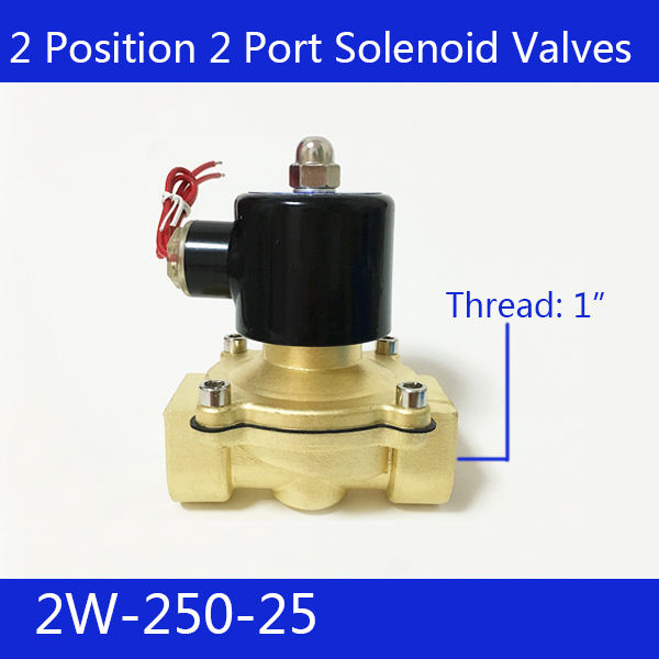 Free Shipping 1  2 Position 2 Port Air Solenoid Valves 2W250-25 Pneumatic Control Valve , DC12V  DC24V   AC220V<br>