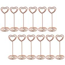 12 Pcs Rose Gold Heart Shape Photo Holder Stands Table Number Holders Place Card Paper Menu Clips for Weddings(China)