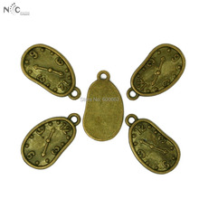 Vintage Alloy Daly Deformation Clock Charms Antique Bronze Plated 50pcs/lot Pendants for DIY Jewelry CN-BJI144-77(China)