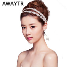 AWAYTR Romantic Wedding Bridal Crystal Headband Headpiece Rhinestone Ribbon Hair Band For Hair Jewelry Women Hair Acessories