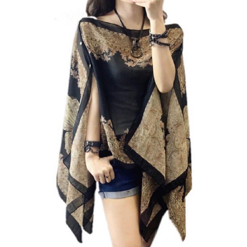 Women Blouses Summer Top Slash Neck Irregular Hollow Out Casual Chiffon Shirt Beachwear Cover up Loose Printing Sun-proof(China)