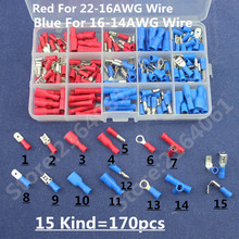 170pcs Assorted  Insulated Terminals Female/Male Quick Disconnect  Ring Connectors Kit Electrical Crimp
