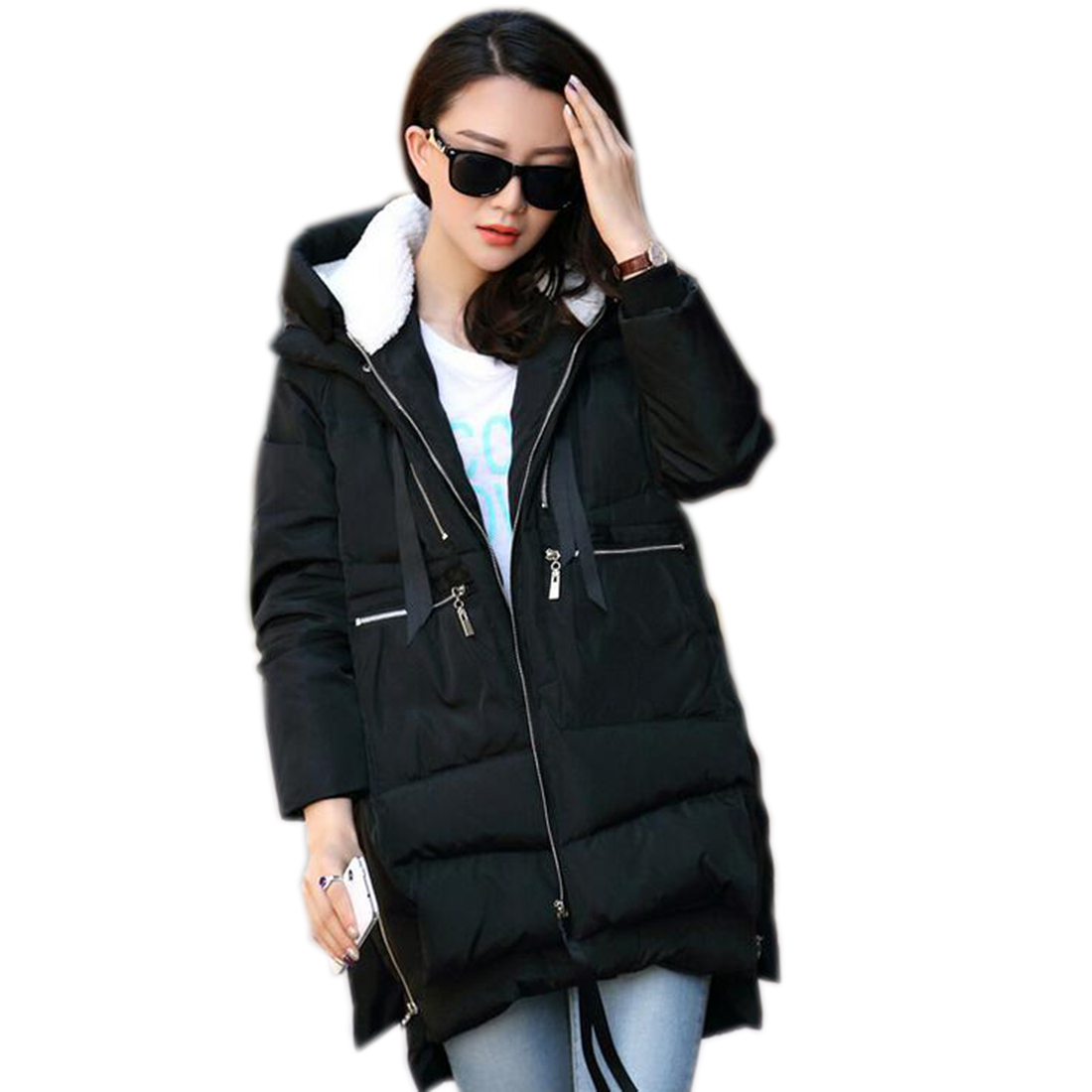Army Green Long warm Coats Women Full-Sleeved Padded Warm Jackets 2017 Fashion Elegant Hooded Winter Coats Outwear Zipper UpОдежда и ак�е��уары<br><br><br>Aliexpress