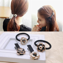 luxury brand cute flower accessories women headband girl bangs hair clips accessories Princess Style Hair rope gum rubber band