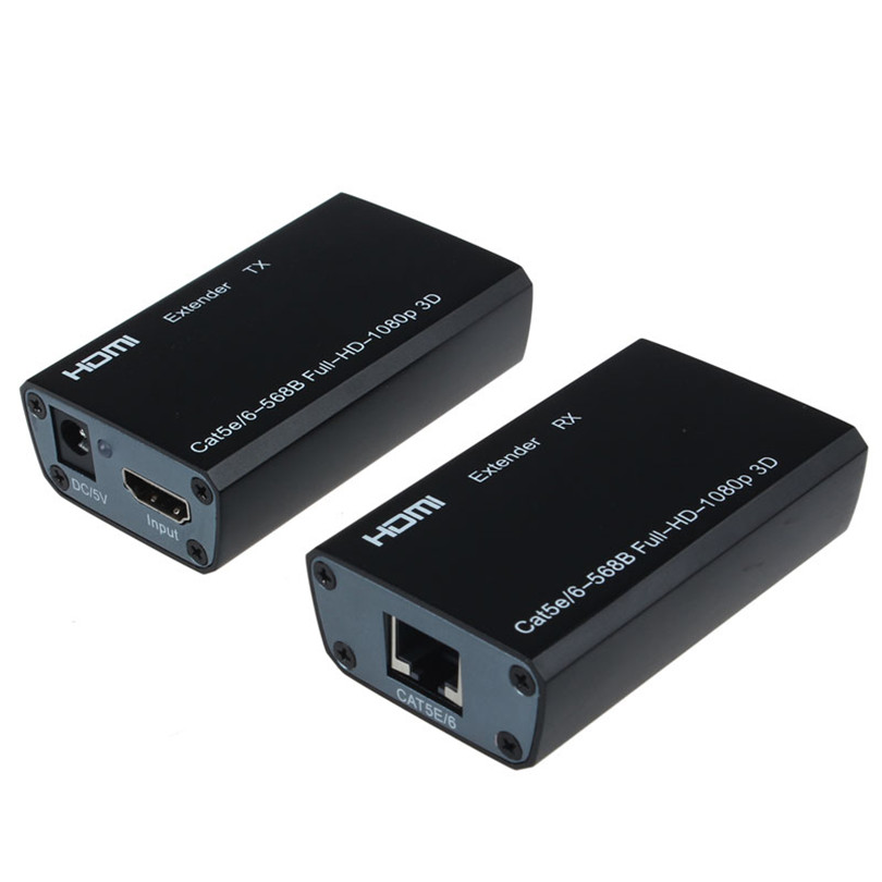 High Quality HDMI Balun Extender Sender+Receiver Over Cat5e/6 196FT 60M 1080p 3D HD Portable Video Adapter for DTV/HDTV Sep19<br>