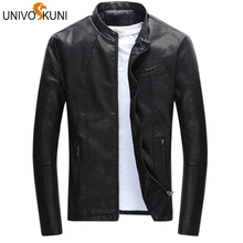UNIVOS KUNI Spring Men's Leather Jacket Brand Clothing Jaqueta Masculina Stand Collar Male Slim Fit New Arrival Coats Z2237