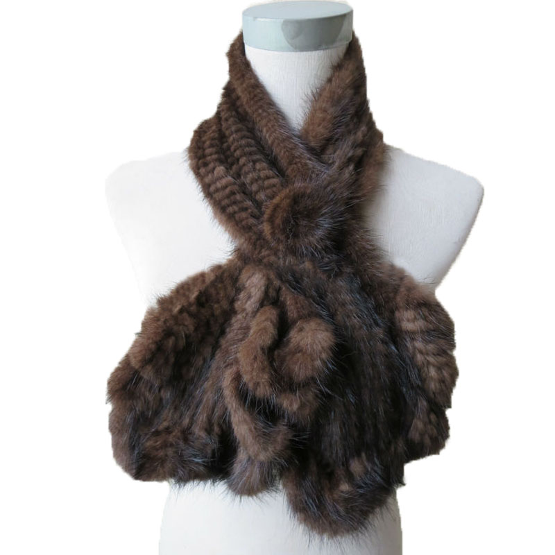 Wraps Women Winter Real Mink knitted Fur Scarf Lady Flouncing Brown Scarves Female Fashion Shawl