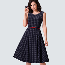Women Vintage Classic Sleeveless Plaid Swing A-line Dress Casual Summer Belted Wiggle Party Dress HA011