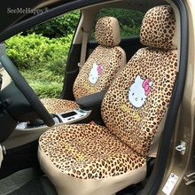 Universal Beige Leopard Hello Kitty Car Seat Covers Winter Short wool Car Seat Pad Car Styling Car Interior Accessories-10PCS(China)