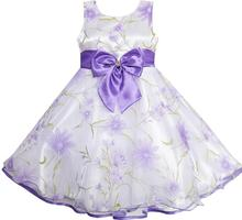 Sunny Fashion 3 Layers Flower Girl Dress Diamond Bow Tie Purple Girl Kids 2017 Summer Princess Wedding Party Dresses Size 2-10