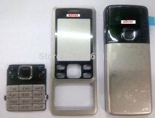 For Nokia 6300 Silver faceplate bezel housing cover case + kaypad Replacement silver black