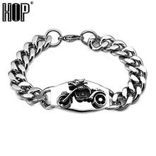 HIP Punk Cool Motorcycle Bike Men's Chain Bracelet Bangle Silver Plated Stainless Titanium Steel Metal