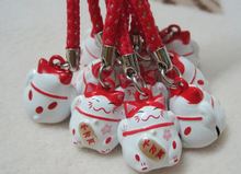 50pcs Modern Popular Cute Red literal Lucky Cat Bell Mobile Cell Phone Charm Strap Fashion Gift
