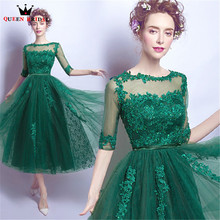 Buy QUEEN BRIDAL Evening Dresses Tea Length Half Sleeve Green Lace Beadin Short Party Prom Dress Gowns 2018 Vestido De Festa JW67 for $69.98 in AliExpress store