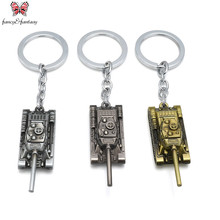 3D World of Tanks Keychain can Drop-shipping Metal Key Rings For Gift Chaveiro Key chain Jewelry