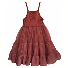 Summer Girls Tank Dress Girl Wine Red Halter Tutu Dresses Solid Harness Princess Party Kids Dresses Children Clothes