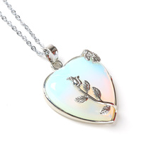 Natural Heart Stone Pendant Chain Necklace Opal Love Necklace Silver Leaf Flower Wire Wrapped Quartz Crystal Pendant For Womens(China)