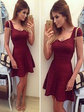 wholesale 2016 New style dress Red wine Celebrity Fashion leisure boutique Cocktail party bandage dress (H1266)