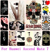 AKABEILA Soft TPU & Hard PC Case For Huawei Mate 7 Cool Skull Head Phone Skull Life Phone Cover For Huawei Ascend Mate 7 Shell