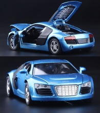 MINI AUTO 1:32 kids toys AUDI R8 metal toy cars model for children music pull back car miniatures gifts for boys(China)