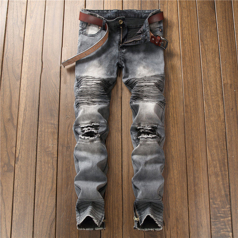 Biepa New Fashion Men's Ripped Motorcycle Denim Pants With Ankle Zipper Designer Distressed Biker Jeans Trousers Knee Holes 7
