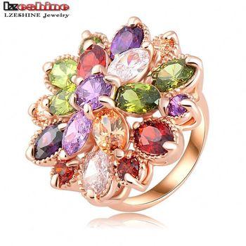 LZESHINE Уникальный Мода Многоцветный Цветок Обручальные Кольца Роуз Позолоченные ААА Циркон Ювелирные Изделия Anillos Ri-hq0365-б