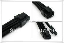 PCI-E 8PIN three braid extension power cable 18AWG with Black sleeving --- 6P+2P(400mm)