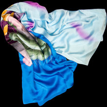100% Silk Scarf Women Scarf Lotus Hand Painted Silk Bandana 2017 Top Silk Hijab Big Square Silk Scarf Hot Luxury Gift for Lady(China)
