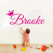 Princess Crown Customized Art Sticker Custom Kids Name Vinyl Wall Decal For Kids Free Shipping