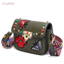 SAJOSE NEW Women Hand Bag Flowers Designer Leather Shoulder Woman's Fashion Messenger Lady Crossbody Luxury Handbags Women Bags