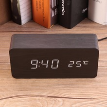 Newest LED Wooden Alarm Clocks With Thermometer Rectangle Table Clocks Big Numbers Digital Clock Classic LED Wooden Clocks