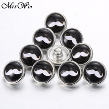 10pcs/lot Mrs Win Snap Jewelry Black Moustache 12mm Round Glass Snap Jewelry For Snap Bracelet Buttons(China)