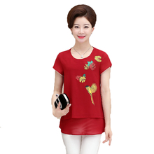 WAEOLSA Middle Aged Women Summer Chiffon Blouses Red Blue Orange Flower Tunic Mother Chic Layered Tops Woman Cap Sleeved Blouse