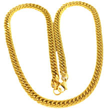High Quality 24K Gold Curb Male Chain 7mm 22inch Long Necklace Steel Bijoux Colar Dourado Masculino Luxury Jewelry Chaine Homme