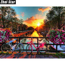 "Zhui Star Full Square Drill 5D DIY Diamond Painting ""Amsterdam bridge"" 3D Embroidery set Cross Stitch Mosaic Decor gift VIP(China)"