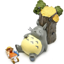 Kawaii Big Totoro figuren set toys 2016 New My neighbor Blue totoro sleeping by tree figurines gifts doll Chinchilla Xiaomei(China)