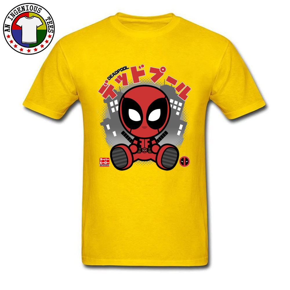 Deadpool Chibi 1226 T-Shirt Graphic Short Sleeve Casual Pure Cotton Crewneck Mens Tops T Shirt Customized Tshirts Summer Deadpool Chibi 1226 yellow
