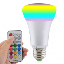 E27 RGB LED Lamp AC 85-265V LED Bulb 10W RGB LED Light 12 Colors with Remote Control Energy Saving Lighting for Bedroom