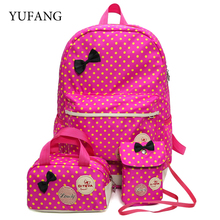 School Bags For Girls Children Backpacks Dot Printing Bow Princess Toddler Backpack Kids Bag Schoolbag Mochilas 3Pcs/set(China)