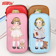 1 PC Cartoon Retro Doll Pencil Cases Office School Supplies Simple Leather Creative Bag Storage(China)